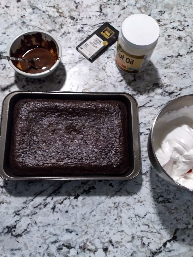 vegan hot chocolate cake ready to be frosted