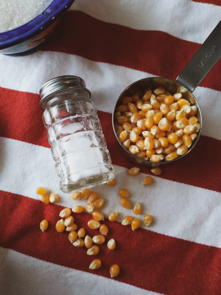 popcorn kernels in a measuring cup next to salt shaker and bowl of sugar